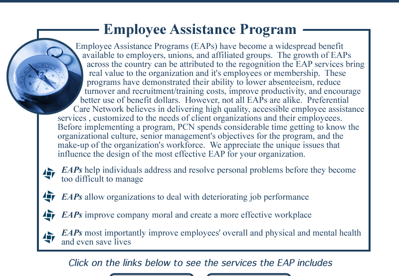defining employee assistance programs eaps and its benefits Employee assistance programs' (eaps) it is protecting its valuable asset-the trained employee (busch, 1981) eaps respond to problems by defining a hypothesis.